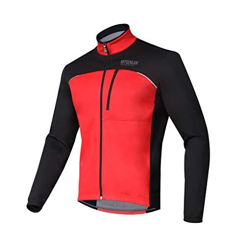 MYSENLAN Herren Fahrradjacke - Winddichte wasserdichte Fleecejacke - MTB Mountainbike Jacket - Visible reflektierend Fleece Warm Softshell Jacke für Herbst Winter
