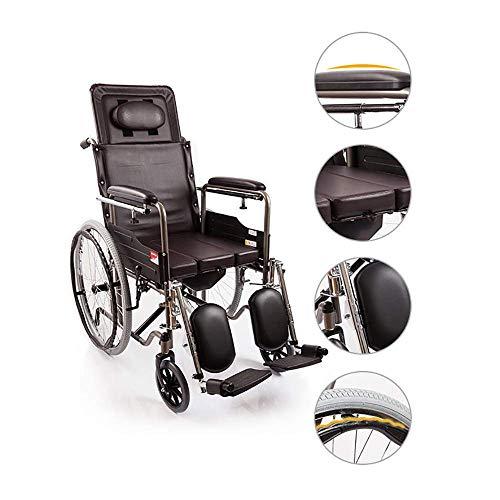 TWL-Wheelchair Rollstuhl mit Sitzhoher Rückenlehne Faltbare Multifunktion, Kann mit Einem Esstisch Verwendet Werden, Liegender Manueller Rollstuhl, Geeignet für Ältere Menschen, Behinderte