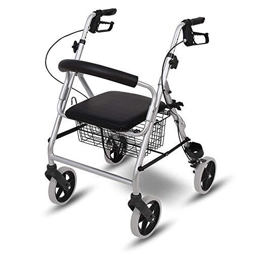WXDP Autopropulsada postura vertical para personas mayores, andador ligero de aluminio plegable con asiento cómodo y cesta, adecuado para los ancianos caminando