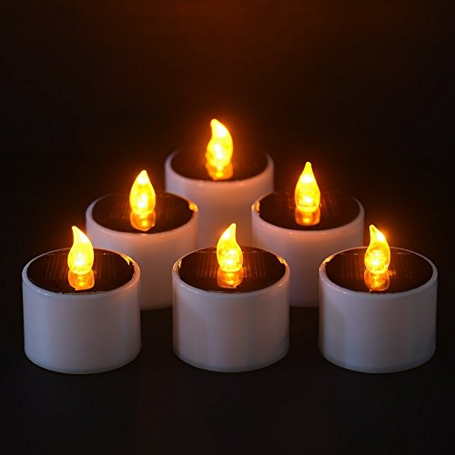 Set of 6 Solar Candles Warm White Flickering Solar powered Flameless LED Candle Tea Light Perfect for Christmas,Valentine day Decoration, Party Centerpiece, Birthday,Wedding,Festivals