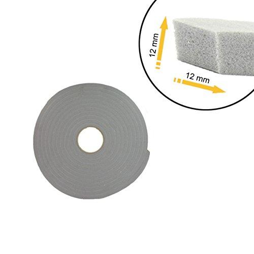 Ruban mousse simple face PVC gris Norton 12mm x 12mm x 8m