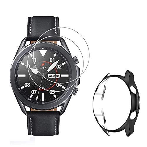 MWOOT Kompatibel mit Samsung Galaxy Watch 3 45MM Schutzfolie Panzerglas, 3Stk Schutz Set mit Gehäuse Hülle, 9H Festigkeit Kratzfest Bildschirmschutzglas für Galaxy Watch3 SM-R840/R845 Schutz - Schwarz