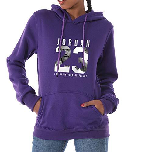 LFLY Jordan Hoodie Mode Langarm Pullover Für Frauen, Bullen 23 Kapuzenpullover Sportswear Weibliche, 3D-Druck M-3xl Purple-L