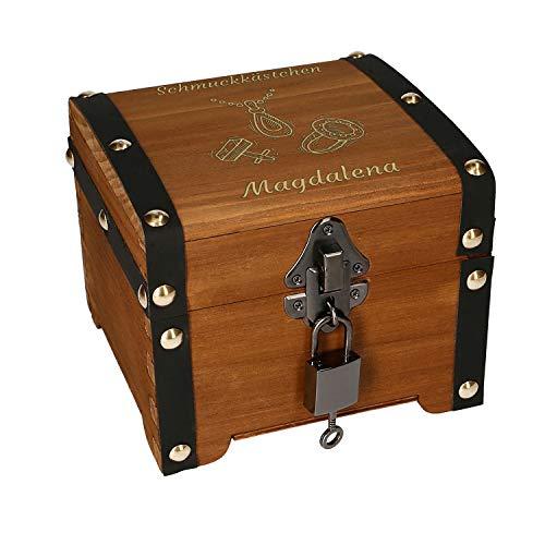 Schatztruhe Schmuck mit Gravur - Geschenk, Schmuckkästchen, Aufbewahrungsbox, Holz, Verpackung für Geldgeschenke
