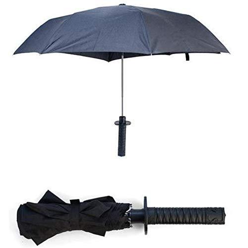 Generies Forma Samurai Katana Diseñado Paraguas con la manija cómoda Espada del Samurai (Negro)