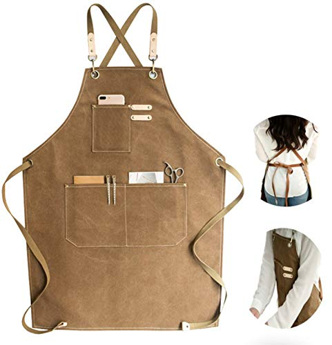 Chef Apron Cotton Canvas Cross Back Adjustable Apron with Pockets for Women and Men Kitchen Cooking Baking Bib Apron Adjustable Strap and Large PocketsCanvas MXXL Cappuccino Brown