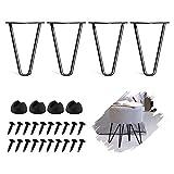WHATWEARS 4 Stück DIY-Möbel Metall-Tischbeine Schwarz 2 Rod Moderne Möbelbeine für Schrank, Kleiderschrank, TV-Schränke, Nachttisch Mit Schrauben und Schutzfüßen (8 Zoll)