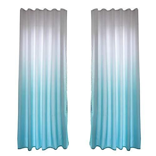 Semi-sombreado Cortina de Poliéster Simple Degradado Patrón de Madera Pantalla de Tela Dormitorio Decoración[Azul Una Pieza]