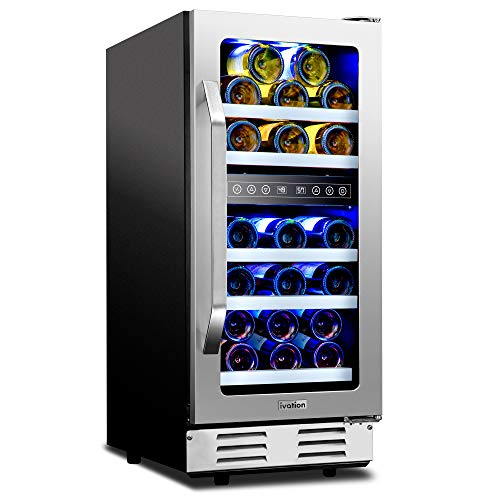 """Ivation 29-Bottle Dual-Zone 15"""" Built-In Compressor Wine Cooler/Cellar Undercounter Wine Fridge, Temperature Control 40°-50°F/50°-66°F Refrigerator, Quiet Operation, LED Light, Glass & Stainless Steel"""