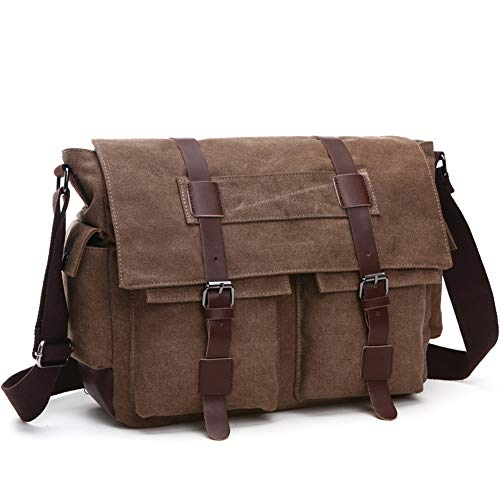 Material:DURABLE,Made of top quality waxed canvas (100% Water Repellent ),Genuine Leather Trim Size: 38*12.5*26(CM)/15×4.9×10.2(INCH) .Weigh: 1.3Kg. Fits laptops up to 15 Inch This messenger bag comes with an adjustable shoulder strap, and there is a...