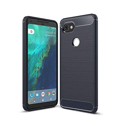 Cáscara del teléfono Estuche protector para Google Pixel 2xl Caso de fibra de carbono Textura TPU a prueba de choques TPU anti-shock Teléfono móvil resistente al teléfono móvil Funda protectora Funda