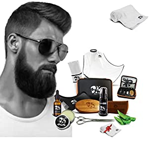 Barba Delantal, Kit de afeitado, completo y su caja, Barba Bib + 1 peine simétrico y Barba + aceites, bálsamo, champú + 1 par de tijeras y una toalla ofrecida (Kit 9 piezas)