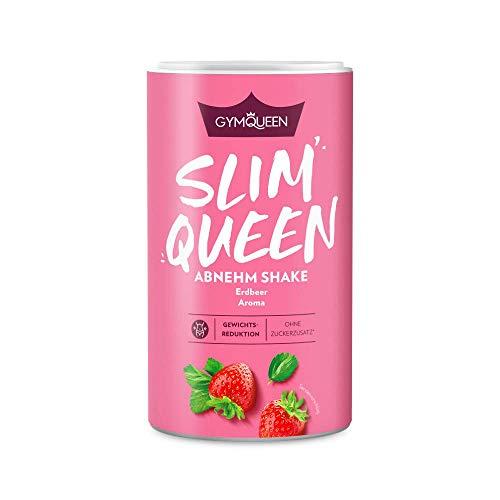 GymQueen Slim Queen Abnehm Shake 420g | Leckerer Diät-Shake zum einfachen Abnehmen | Mahlzeitersatz mit wichtigen Vitaminen und Nährstoffen | nur 250 kcal pro Portion & ohne Zucker-Zusatz | Erdbeer