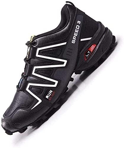 WYUKN Chaussures de Cyclisme, imperméables Hommes VTT Chaussures de Cyclisme Chaussures de Moto décontracté vélo de Route Baskets Chaussures de Course antidérapantes,Schwarz-44EU