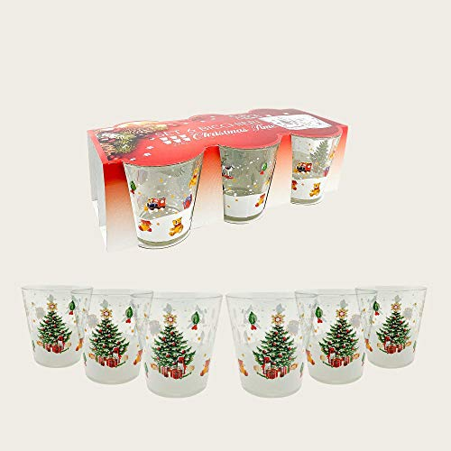 arca - Set 6 Bicchieri Natalizi - 27CL - Vetro Rinforzato - Made in Italy - LAVASTOVIGLIE - Resistenti - Duraturi (Villaggio INNEVATO)
