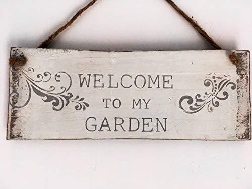 Yohoba Welcome to My Garden Holzplank Hängeschild Gartenschild Gartenschild Geschenk Rustikales Gartenschild Gartenschild Gartengeschenk Rustikales Schild