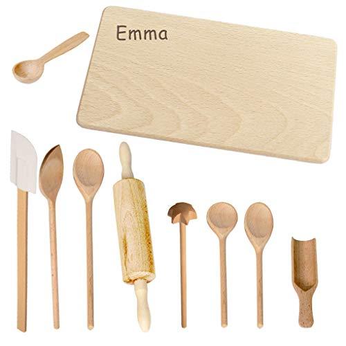 Holz Backset Kinder - INKLUSIVE Gravur mit Namen - Küchengeräte und Kinderküche Zubehör zum Backen, Kochen, Spielzeug personalisiert für Weihnachten als Geschenk