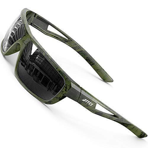 ATTCL Deportes polarizados gafas de sol para hombres ciclismo conducción pesca 100% protección UV, (Camuflaje/lente negra (no espejo)), Medium