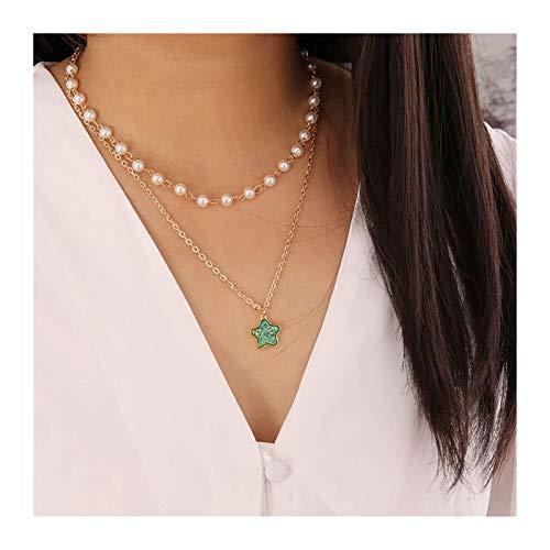 Collar Gargantilla Pulsera Toblet Pearl Collar en Capas Oro Piedra Gemstone Collares Collares Cadena Estrella Colgante Collar Joyería para Mujeres y niñas (Gema Azul) (Color : Green)