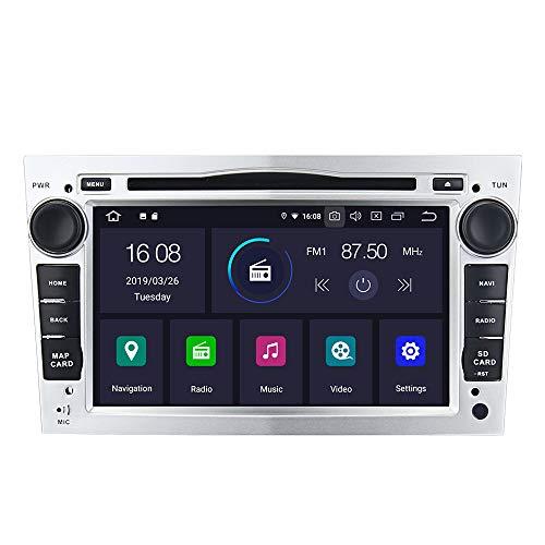 Dasaita 7 pulgadas Android 9.0 doble DIN radio de coche para Opel Combo Insignia Vivaro Zafira Meriva 2005 a 2011 estéreo Bluetooth compatible con GPS WiFi OBD USB Control de volante DVR (plata)