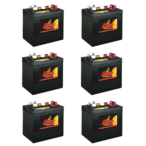 Crown Battery BCI Group GC2 6V 240AH Deep Cycle Golf Cart and Scrubber Battery X6