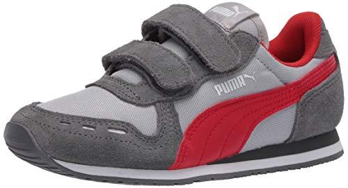 PUMA Baby Cabana Racer Velcro Sneaker, High Rise-Castlerock-High Risk Red, 8 M US Toddler
