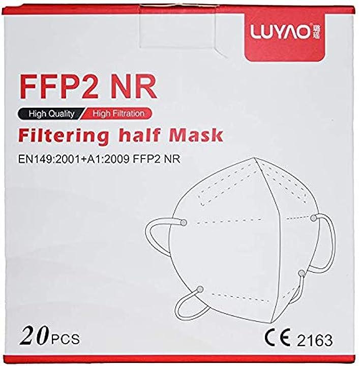 Mascherine ffp2 certificate ce senza valvola protettive traspiranti  luyao, confezione da 20 pezzi