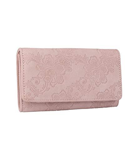 SIX Damen Portemonnaie, längliche Geldbörse in zartem Altrosa mit floralem Muster und Druckverschluss (703-605)