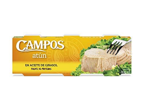 Campos, Conserva de atún en aceite de girasol - pack de 3 latas de 80 gr.