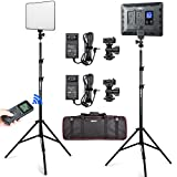 VILTROX 2 Packs LED Video Light kit with Light Stand and Wireless Remote, 30W/2450Lux Dimmable 3300K-5600K LED Panel Lights CRI 95+ for Photography Video Portrait Conference Vlog Streaming(VL-200T)