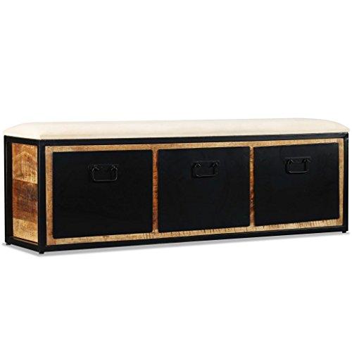 Luckyfu Questa Panca Contenitiva con 3 Cassetti Legno di Mango 120x30x40 cm.La Panca Presenta Seduta Superiore Che Unisce Il Comfort.panche Contenitore.Panca da Ingresso.