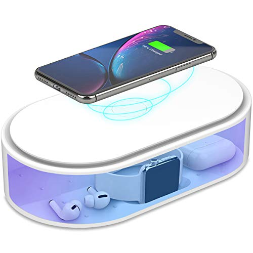 UV Phone Sanitizer & 10W Wireless Charger for iOS Android Smartphone UV Sterilizer Cell Phone...