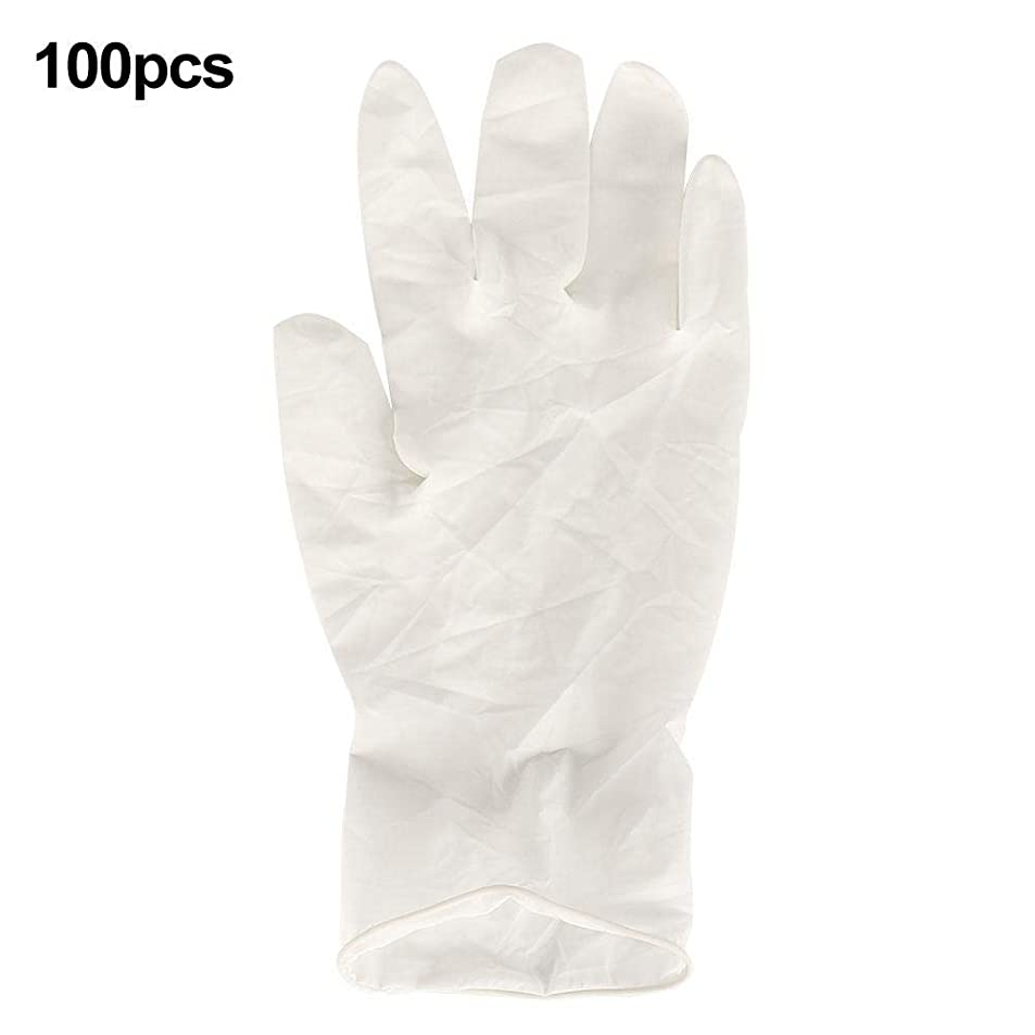 規制頭痛バルコニーQiilu ラテックス手袋 使い捨て手袋 ゴム手袋 100個(中型)