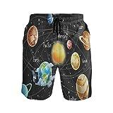LISNIANY Bañador Hombre,Planeta Sistema Solar Universo Espacio Tierra Cartoon Orbit Galaxy,Natación Secado Rápido Malla Pantalones Imprimiendo Cortos(XL)