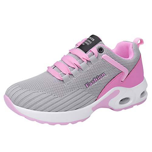 Xmiral Sneakers Mesh Ober Gummisohle Damen Riemchen Einfarbig Turnschuhe Laufschuhe Sportschuhe Gummiband rutschfest Fitnessschuhe(Pink,36 EU)