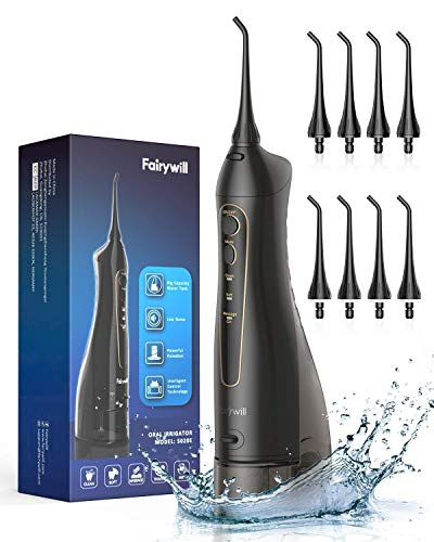 Water Flossers for Teeth, Fairywill 300ML Cordless Portable Water Pick Teeth Cleaner, 3 Modes and 8 Jet Tips, IPX7 Waterproof, USB Charged for 21-Days Use, Oral Irragator for Travel, Office