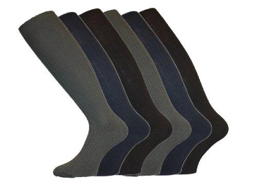 Socks Uwear Kniestrümpfe gerippt aus Baumwolle für Herren Größe 39–46 Gr. 39-42, Teintes Foncées