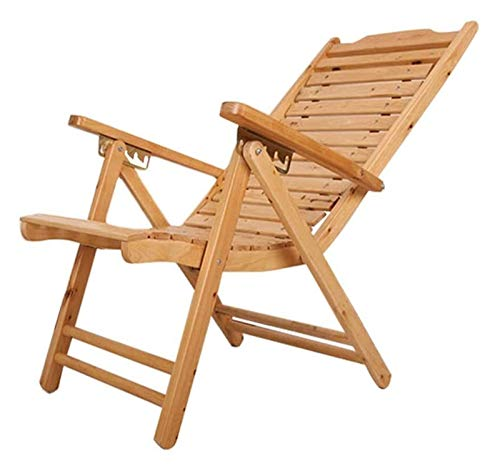 MTCWD Tumbona sillas de Camping de Madera sólida reclinable Ajustable en 5 Posiciones de Peso efectiva rodamientos 180 Kg