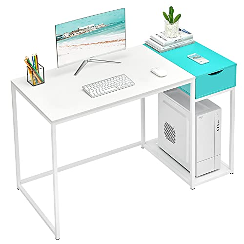 MASACORO Computer Desk with Drawers 40 inch Home Office Writing Study Desk Storage Shelves, Modern Simple Style Laptop Table with Secret Organizer, White & Turquoise