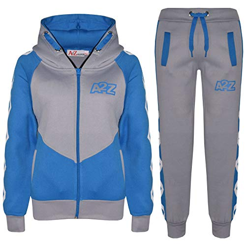 A2Z 4 kinderen unisex trainingspak grijs & blauw designer contrast panel kruis strepen ritssluiting top capuchon & bottom jogging pak joggers leeftijd 5-13 jaar