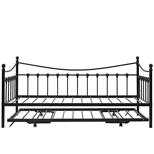 ROMANTIC BEAR Metal Bed Frame 3FT Metal Daybed Guest Bed with Trundle for Guest Room Children Bedroom, Black Sofa bed 2 in 1 Bedroom Furniture Fit 90 * 190 Mattress (Trundle Bed Included)