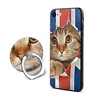 アメリカ国旗 猫 アイフォン 7/8 スマホケース スタンド機能付き 360回転、衝撃防止 バックカバー 保護ケース 黄変防止 手触り良い、散熱加工 TPUシリコン素材電話ケース 男女兼用