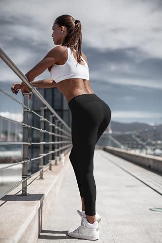 HD DHISPANIA Leggins Mujer Push up - Mallas Fuertes para Yoga Cintura Alta/no trasparentan- Tejido DE Compresion Reductor (Negro, S, Numeric_38)