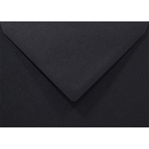 Netuno 100 Stück Schwarz C6 Briefumschläge, 114x162mm, Rainbow 80g, Spitzklappe, ohne Fenster, ideal für Hochzeit, Weihnachten, Grußkarten und Einladungen