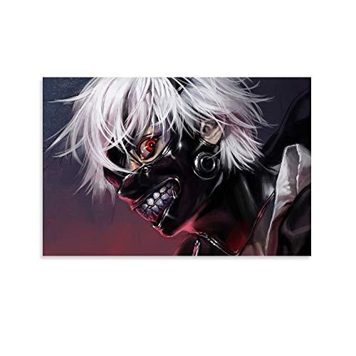 yizhimei Póster de anime de pelo blanco Kaneki Ken Tokyo Ghoul y arte de pared, póster moderno para decoración de dormitorio familiar (20 x 30 cm)