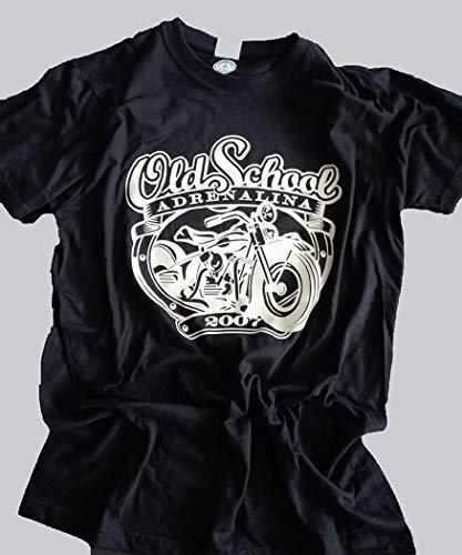Adrenalina - Camiseta de Moto Old School Motociclista Vintage Custom-Ideastore Negro XL