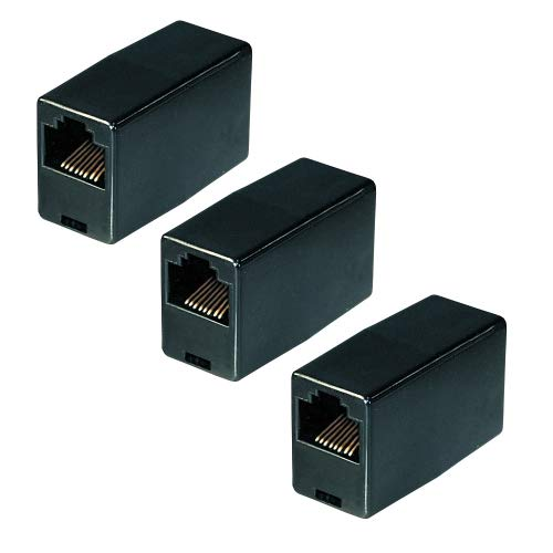 3X Netzwerk Kupplung   RJ45   CAT5   UTP   Ethernet LAN Kabel Verbinder   Verlängerung Adapter   2X RJ45 Buchse   für Patchkabel Netzwerkkabel Ethernetkabel Lankabel   Schwarz   3 Stück