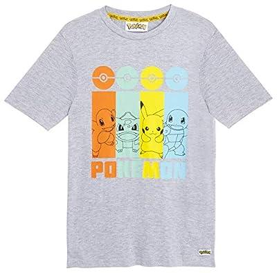 Pokemon- Camiseta Niño, Camisetas Niño Manga Corta con Personajes Pikachu Bulbasaur, Charmander y Squirtle, Camiseta Color Gris Algodon, Regalos para Niños Niñas 4-14 Años (7/8 años) de