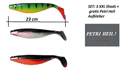 Behr Set XXL SHADS rubbervissen 23 cm, 3 verschillende ontwerpen + gratis Petri genezen! Stickers