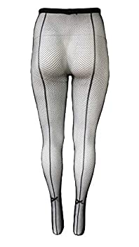 Yelete Killer Legs Womens Queen Plus Size Fishnet Pantyhose 168YD022Q Black Back Seam with Bow Tie